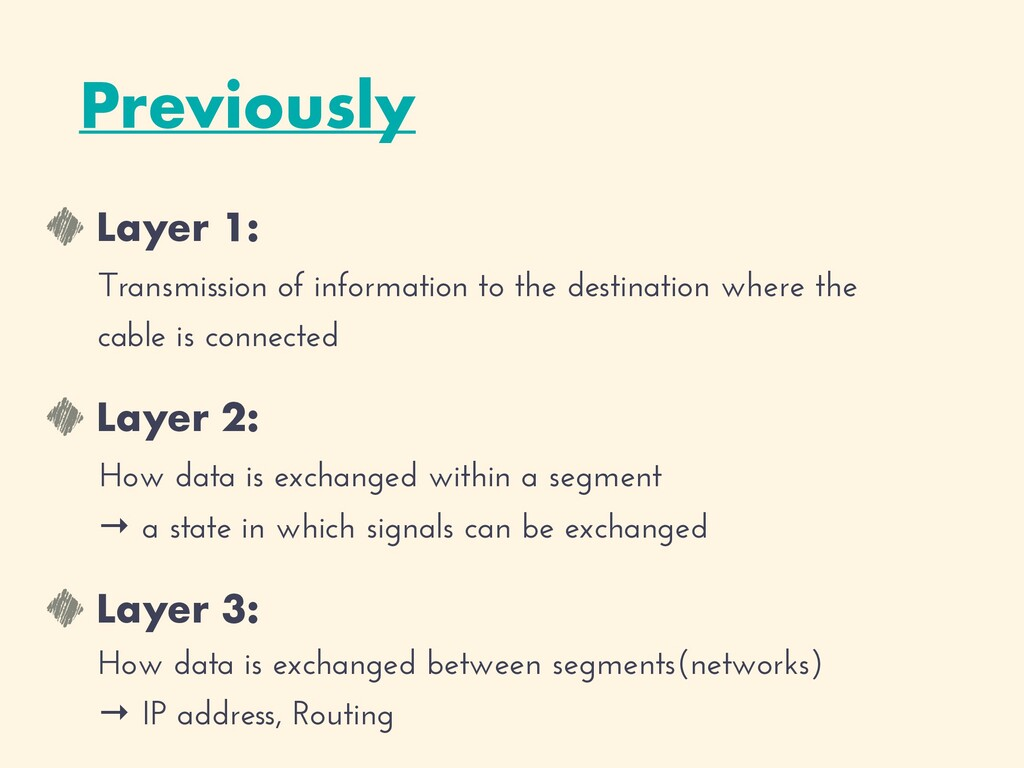 Layer 1:   Transmission of information to the d...