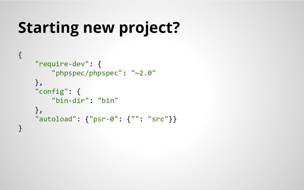 """Starting new project? { """"require-dev"""": { """"phpsp..."""