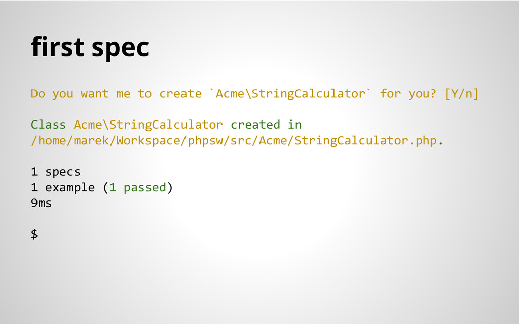 first spec Do you want me to create `Acme\Strin...