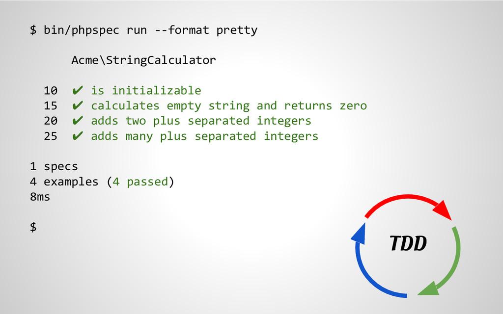 $ bin/phpspec run --format pretty Acme\StringCa...