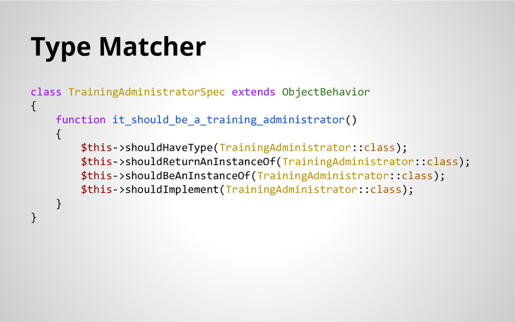 Type Matcher class TrainingAdministratorSpec ex...