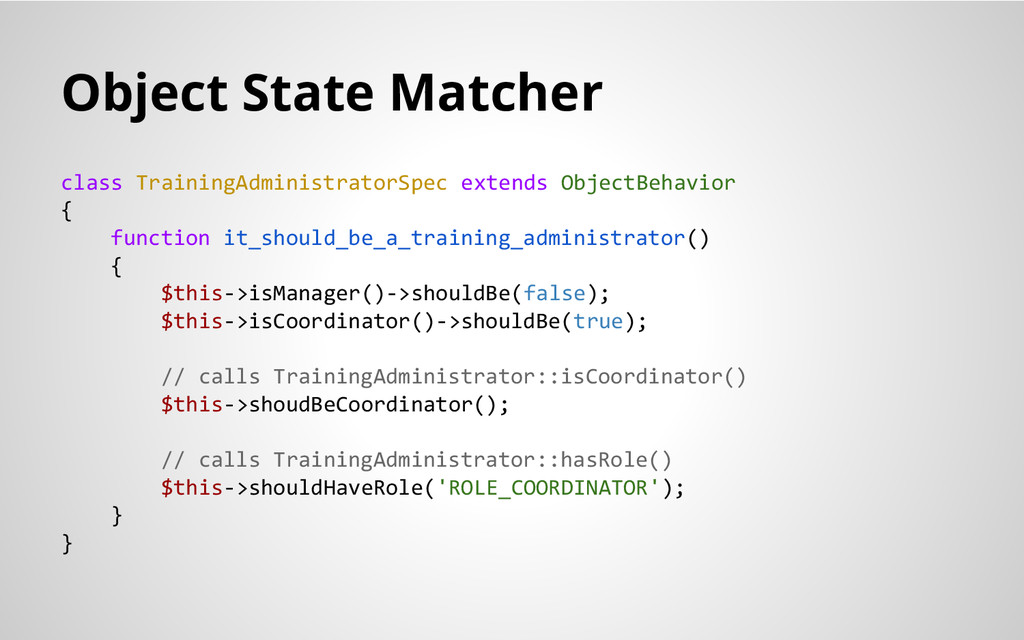 Object State Matcher class TrainingAdministrato...
