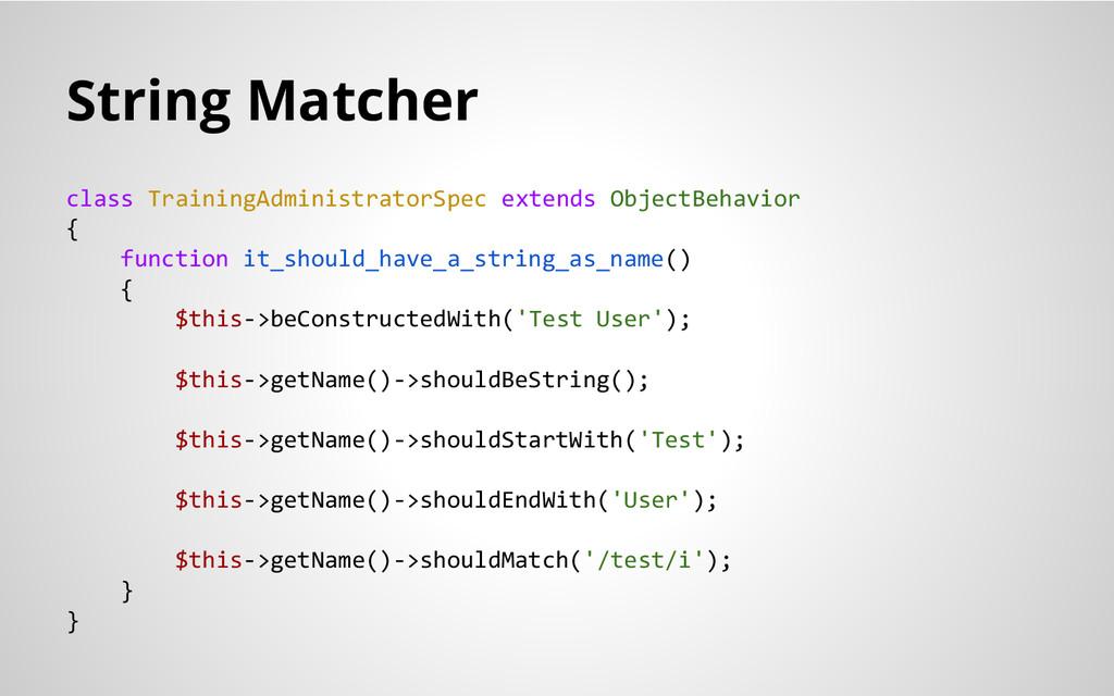 String Matcher class TrainingAdministratorSpec ...