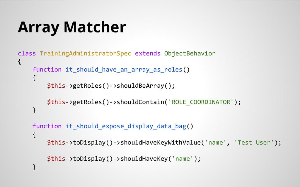 Array Matcher class TrainingAdministratorSpec e...