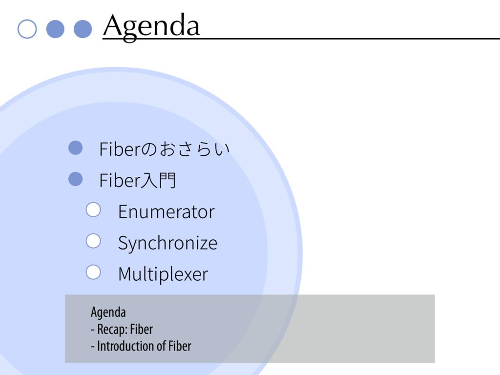 Agenda 'JCFSךְֶׁ 'JCFSⰅ &OVNFSBUPS 4ZODISP...