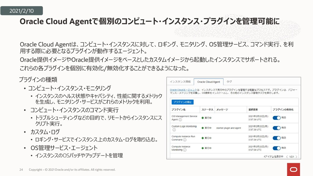 Oracle Cloud Agentは、コンピュート・インスタンスに対して、ロギング、モニタリ...