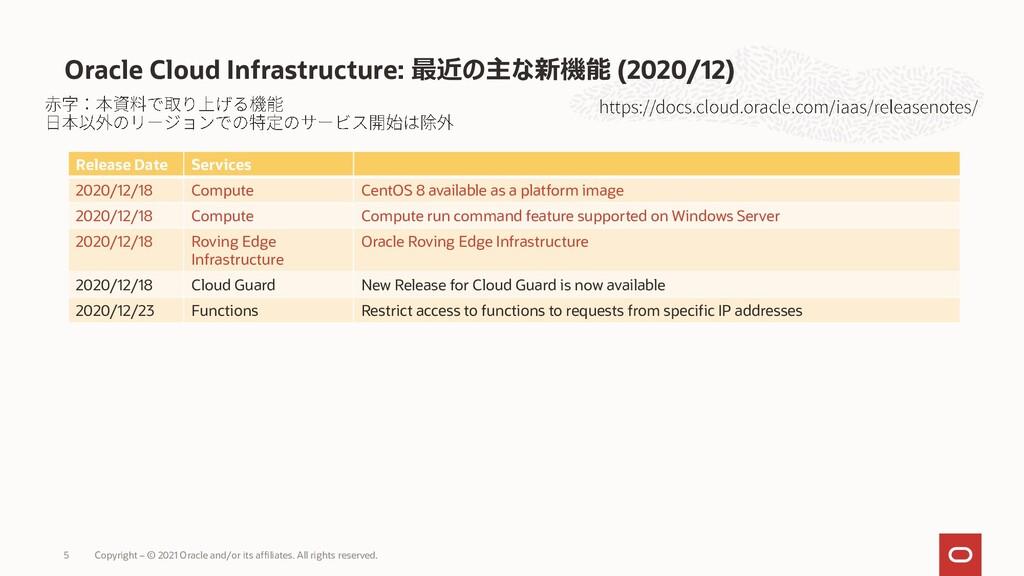 Oracle Cloud Infrastructure: 最近の主な新機能 (2020/12)...