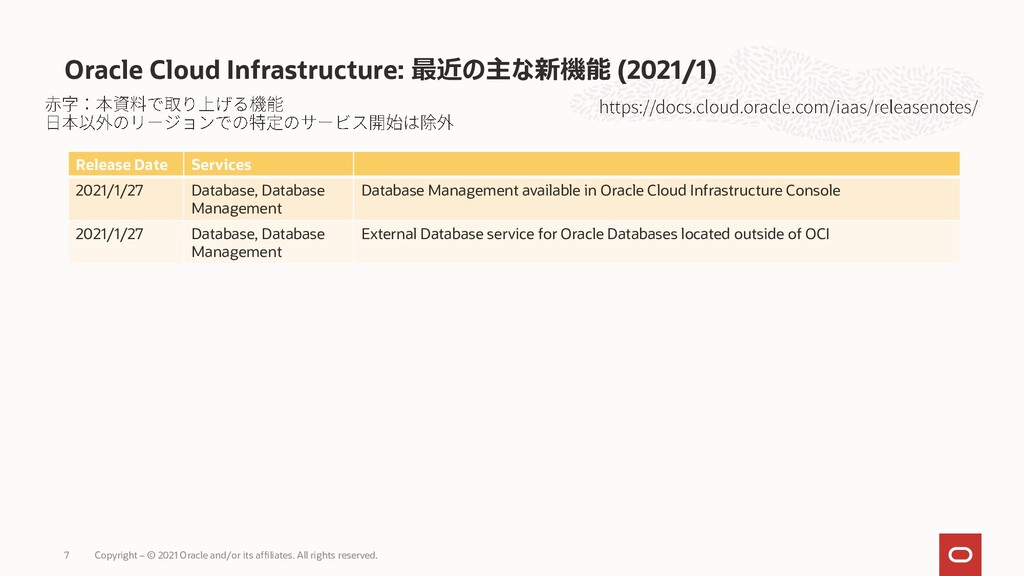 Oracle Cloud Infrastructure: 最近の主な新機能 (2021/1) ...
