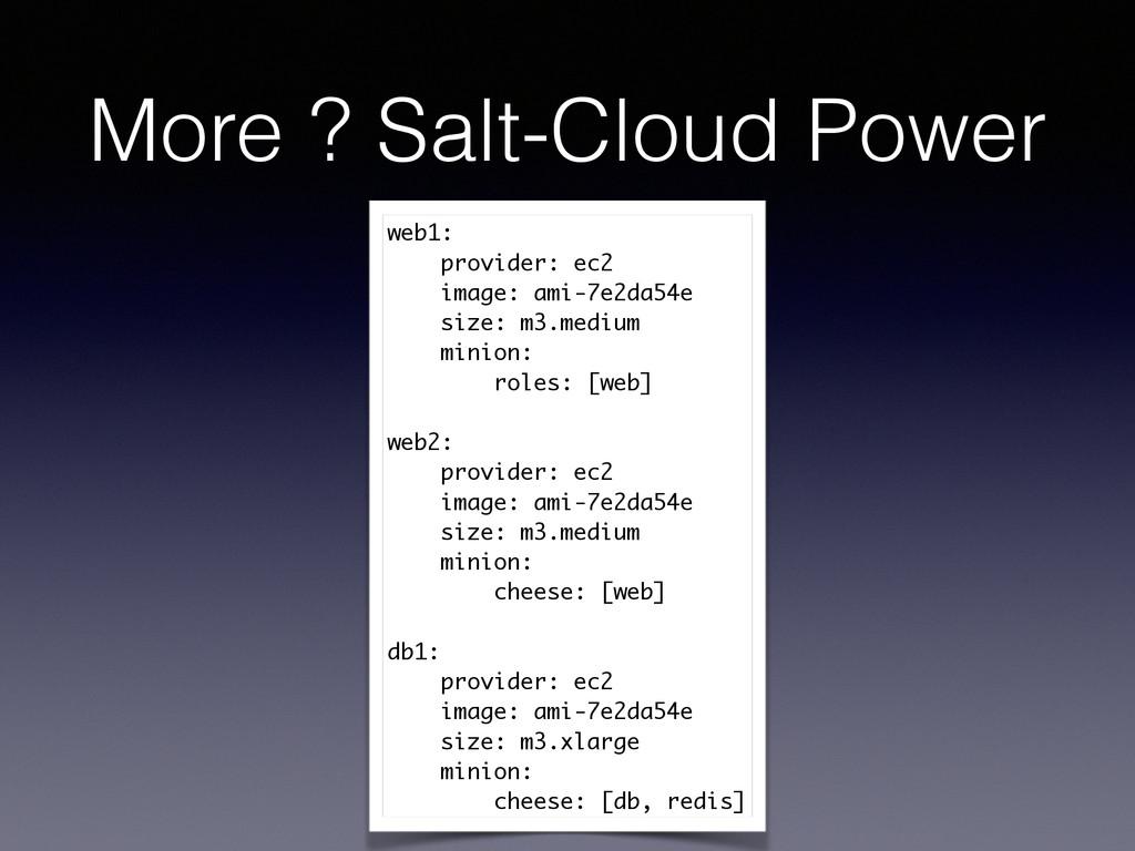 More ? Salt-Cloud Power web1: provider: ec2 ima...
