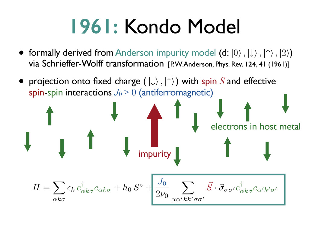 • formally derived from Anderson impurity model...