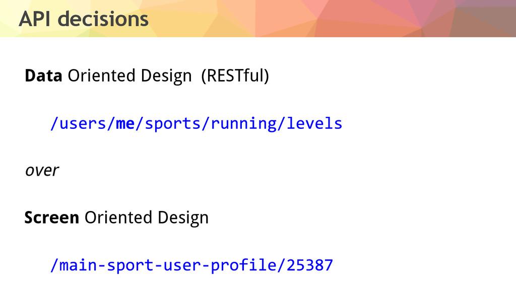 API decisions Data Oriented Design (RESTful) ov...