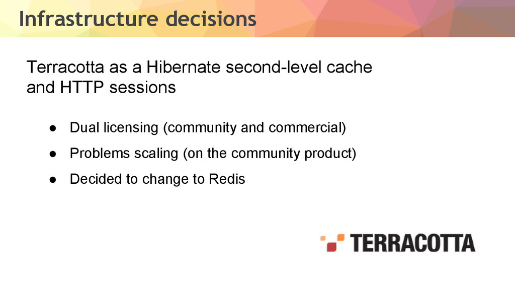 Infrastructure decisions Terracotta as a Hibern...