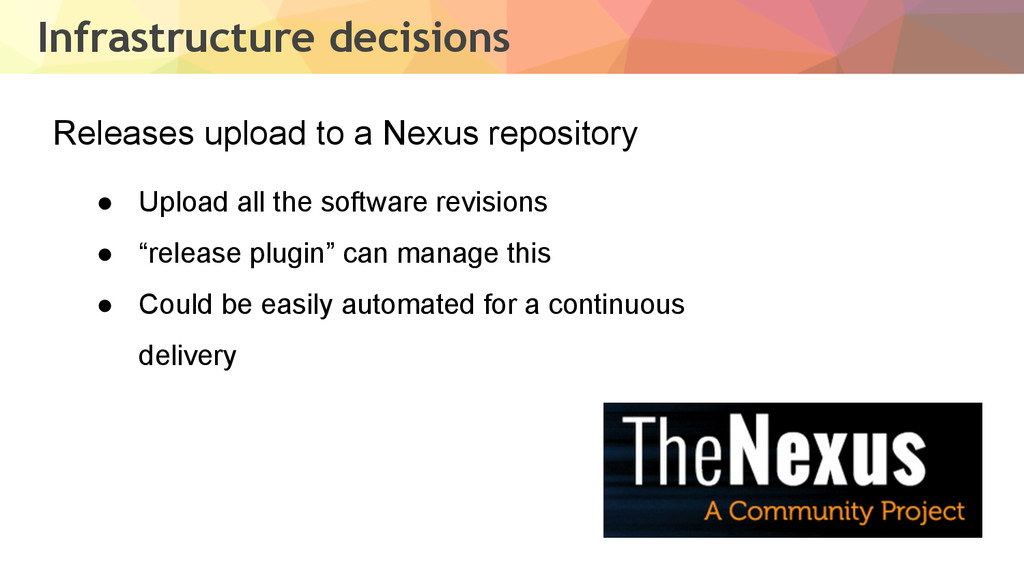 Infrastructure decisions Releases upload to a N...