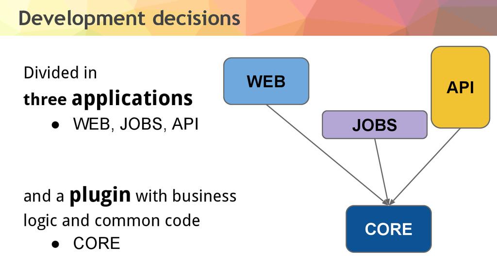 Development decisions Divided in three applicat...
