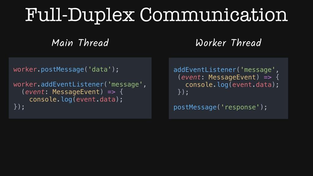 Full-Duplex Communication Main Thread Worker Th...