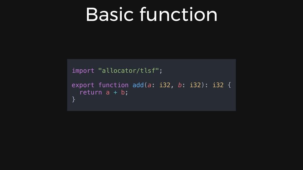 "Basic function import ""allocator/tlsf""; export ..."