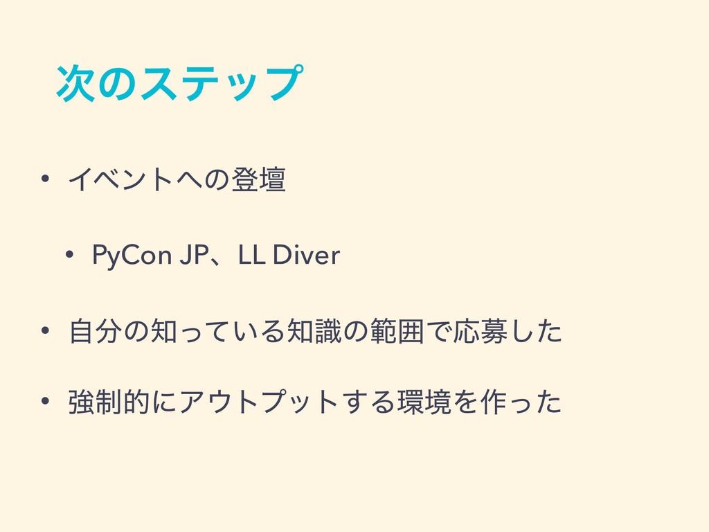 ͷεςοϓ • Πϕϯτͷొஃ • PyCon JPɺLL Diver • ࣗͷ͍ͬͯ...