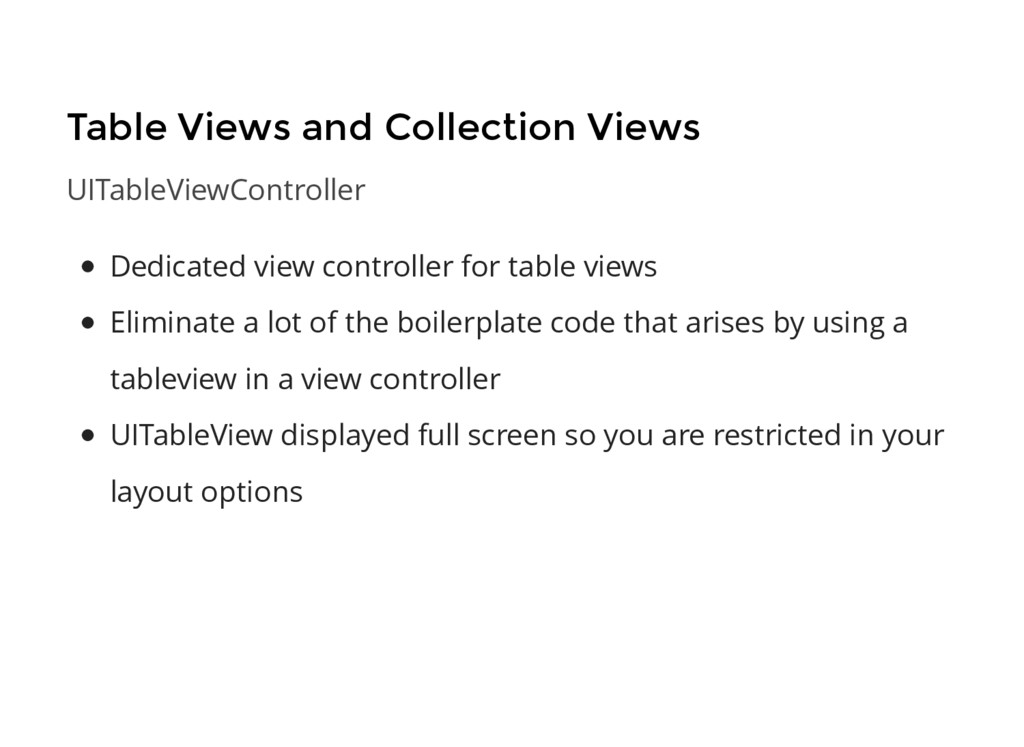 Table Views and Collection Views UITableViewCon...