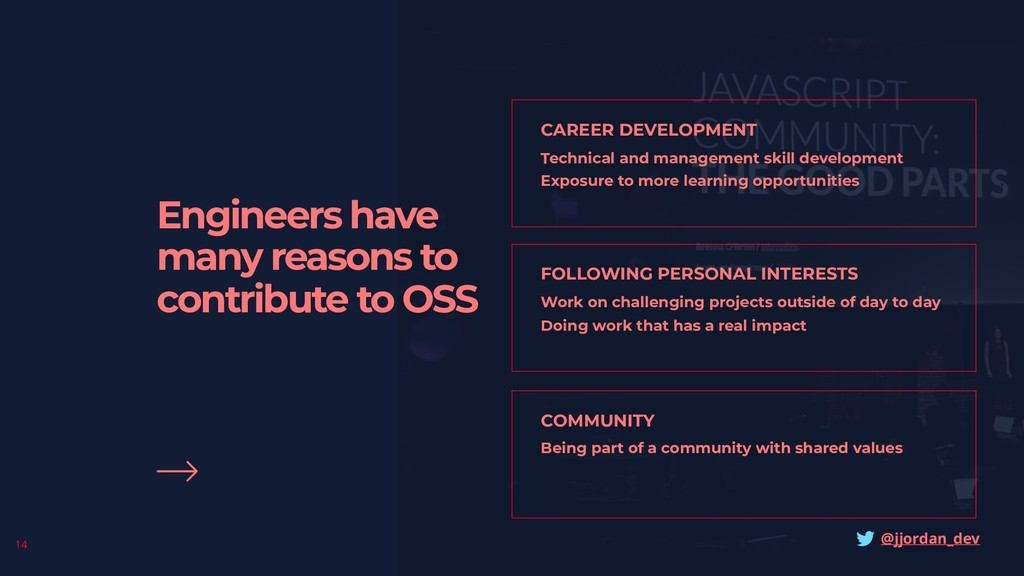 Engineers have many reasons to contribute to OS...