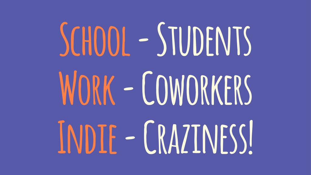 School - Students Work - Coworkers Indie - Craz...