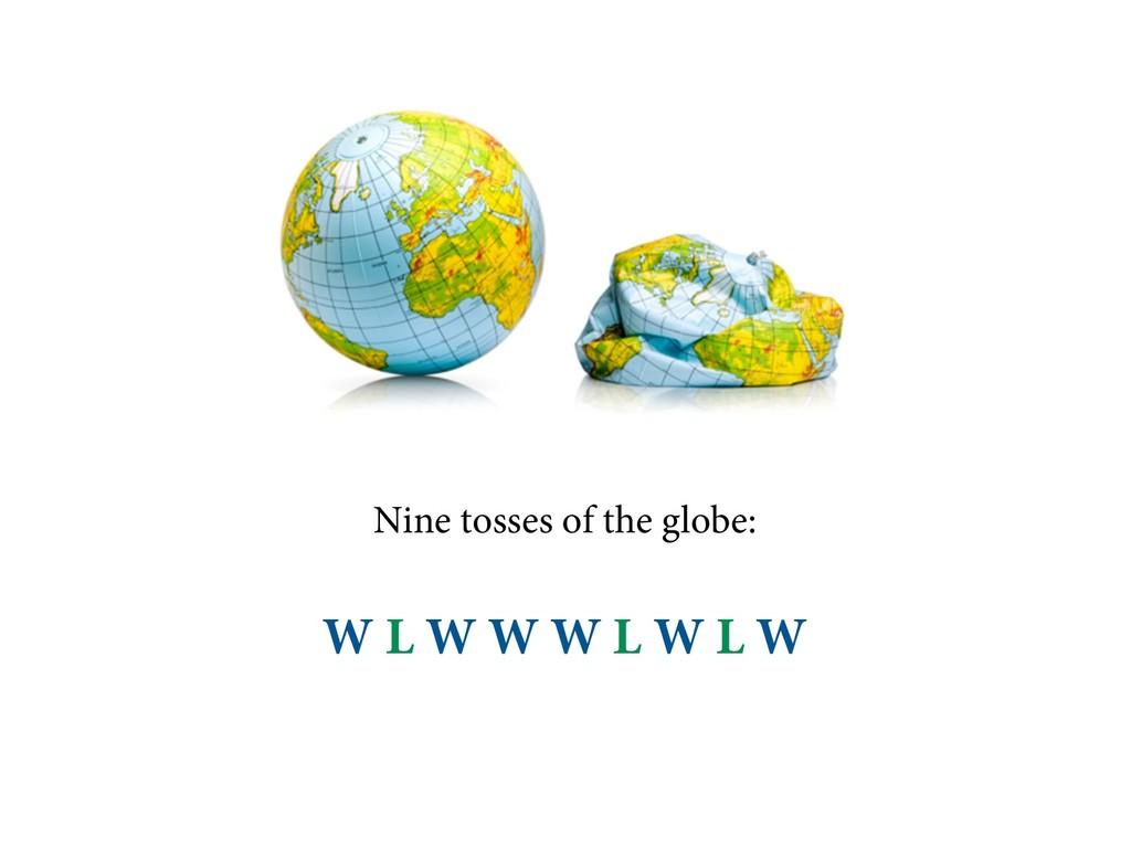 Nine tosses of the globe: W L W W W L W L W