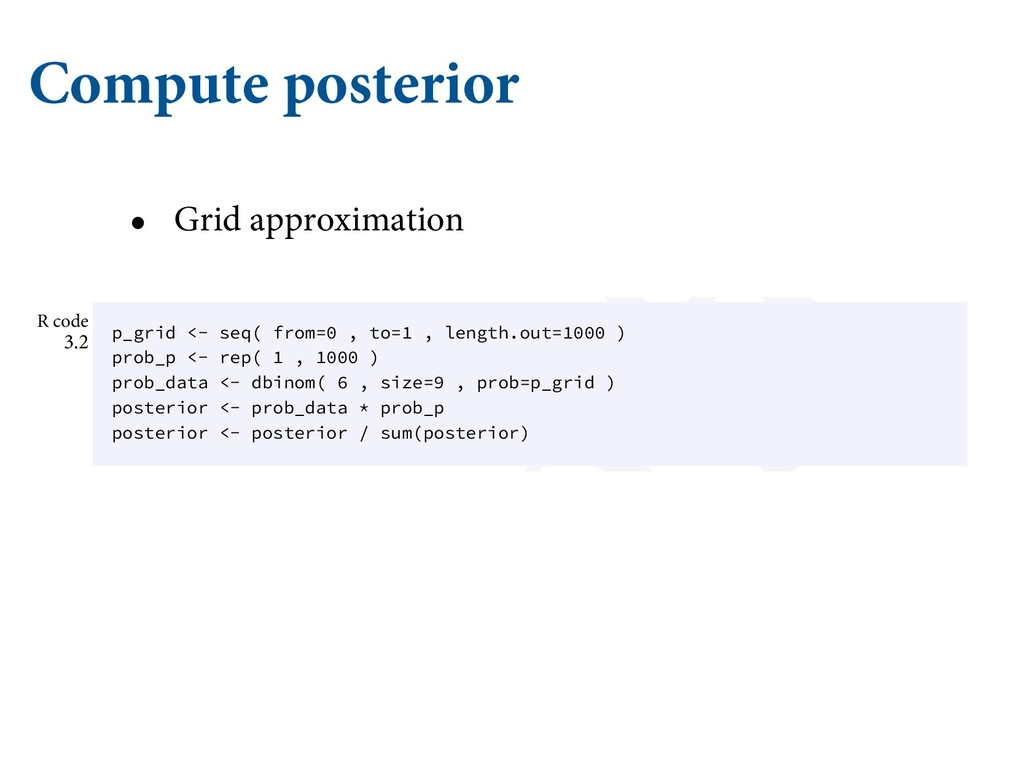 Compute posterior • Grid approximation Bę 1MVH ...