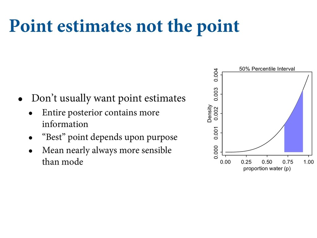 Point estimates not the point • Don't usually w...
