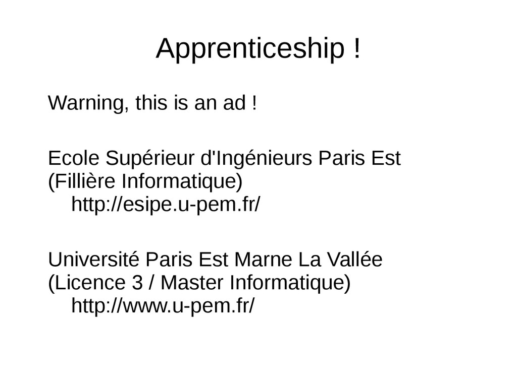Apprenticeship ! Warning, this is an ad ! Ecole...