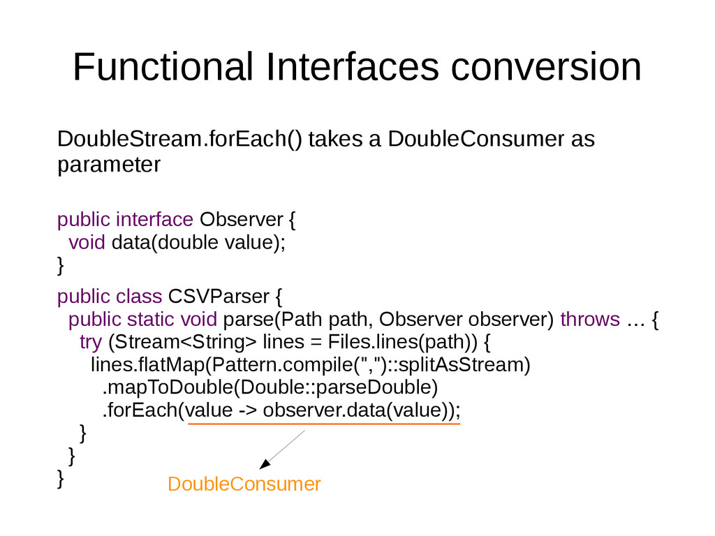 Functional Interfaces conversion DoubleStream.f...