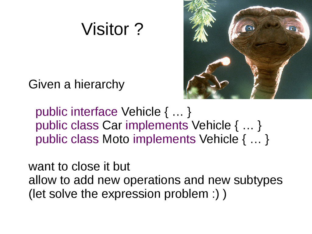 Visitor ? Given a hierarchy public interface Ve...