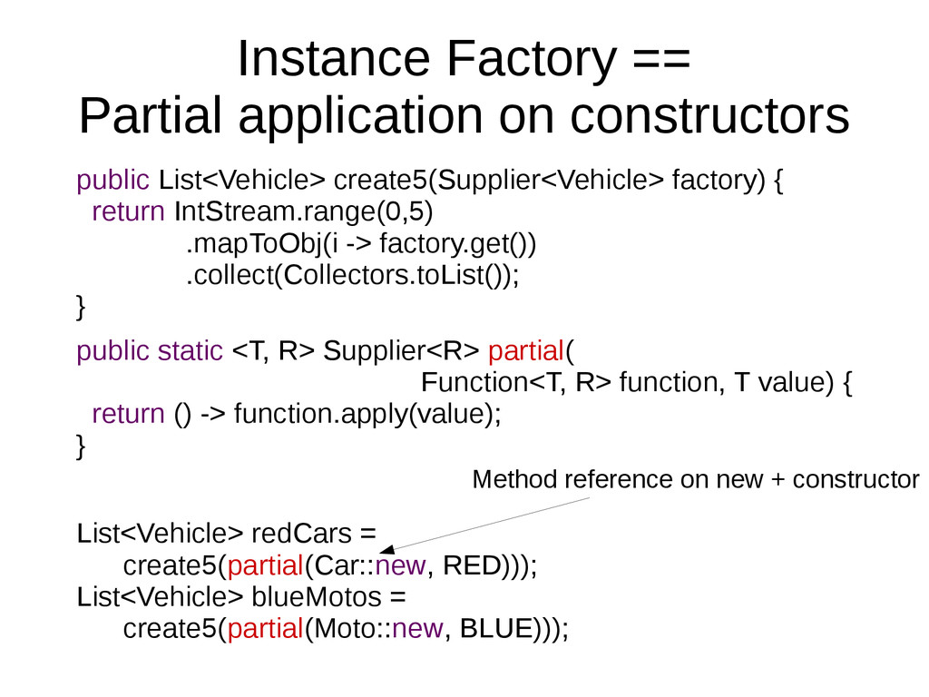 Instance Factory == Partial application on cons...