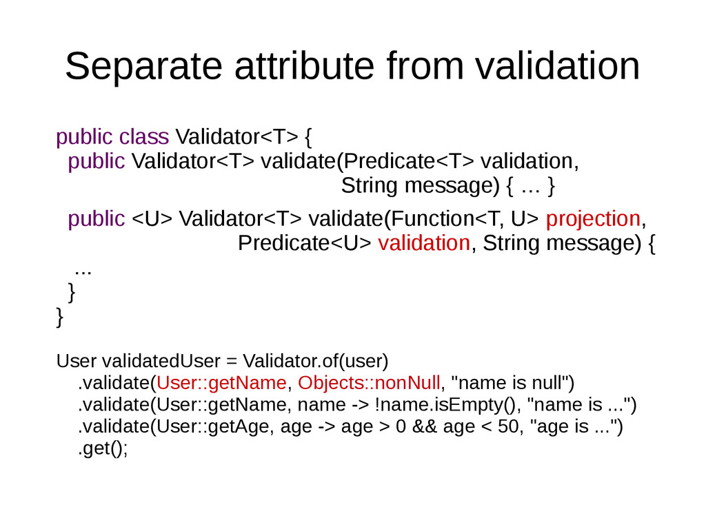 Separate attribute from validation public class...