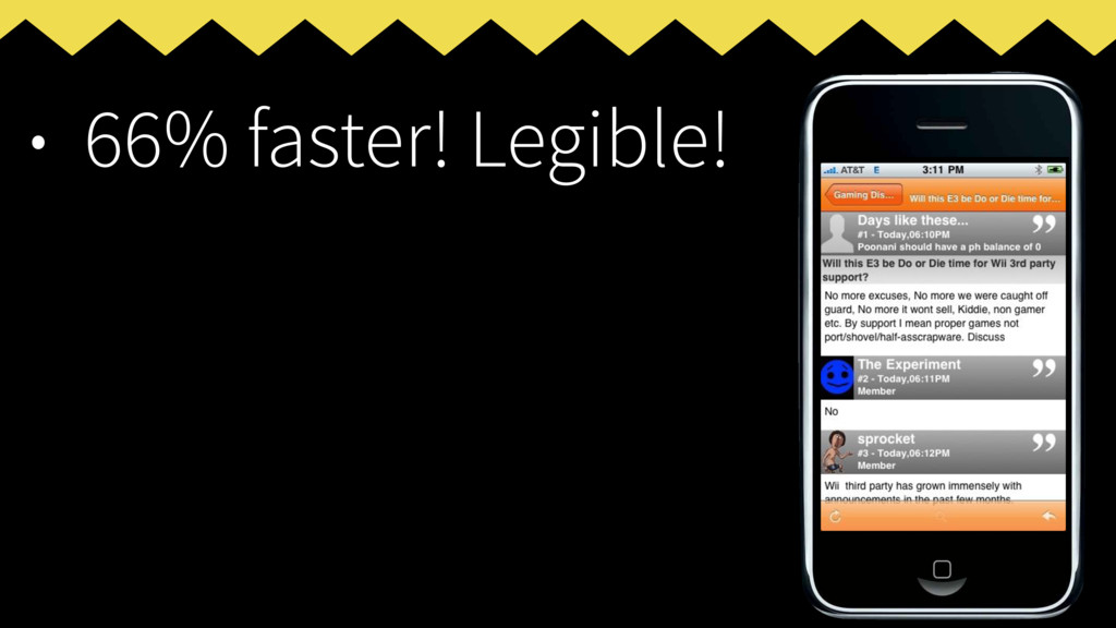 • 66% faster! Legible!