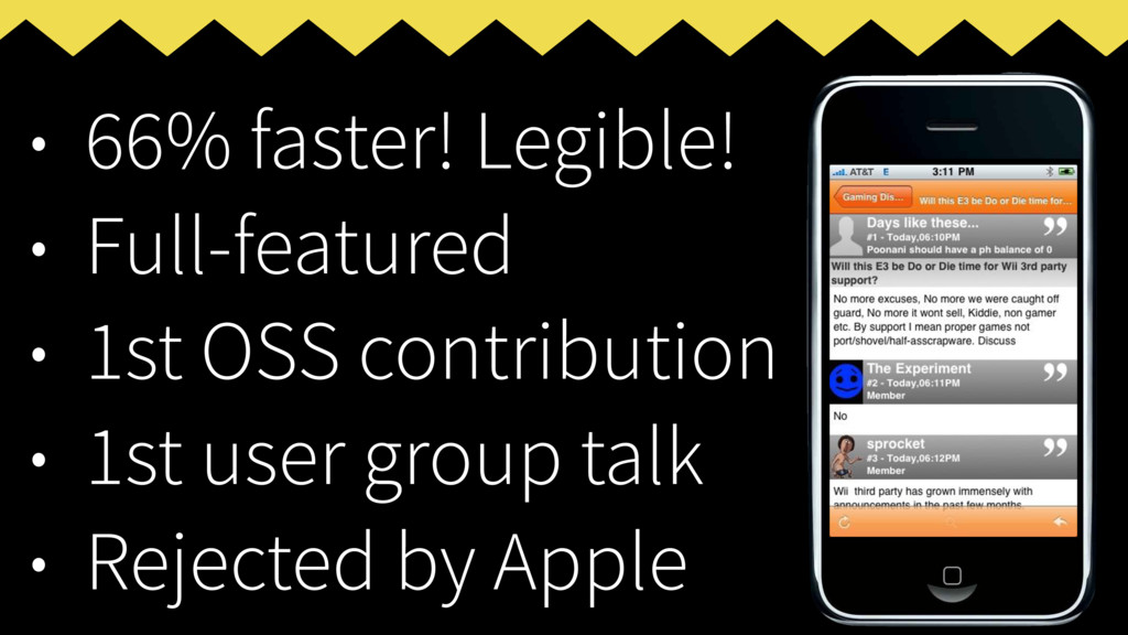 • 66% faster! Legible! • Full-featured • 1st OS...