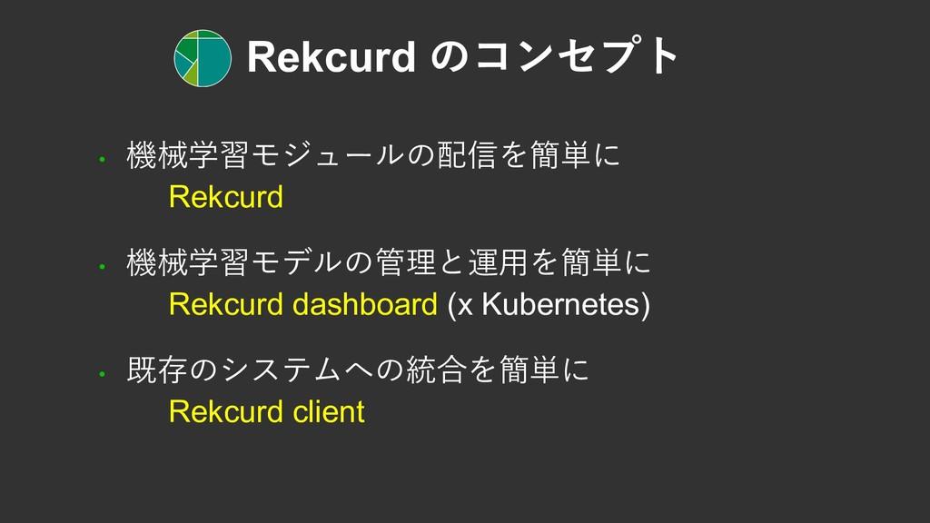 Rekcurd のコンセプト • 機械学習モジュールの配信を簡単に Rekcurd • 機械学...