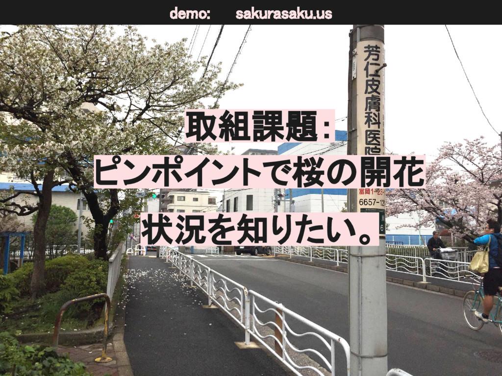 取組課題: ピンポイントで桜の開花 状況を知りたい。 demo: sakurasaku.us