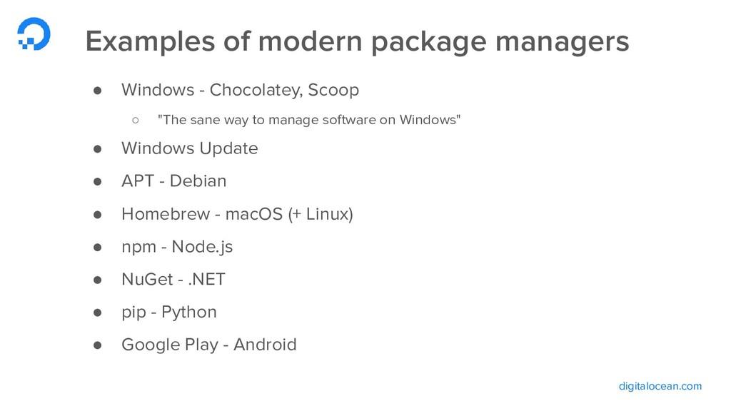digitalocean.com Examples of modern package man...