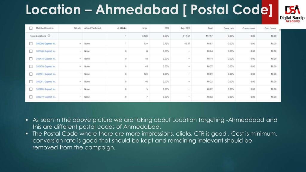 Location – Ahmedabad [ Postal Code]  As seen i...
