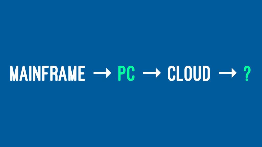 MAINFRAME → PC → CLOUD → ?