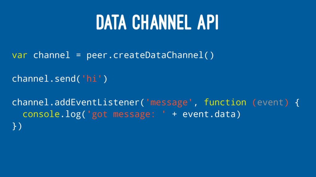 DATA CHANNEL API var channel = peer.createDataC...