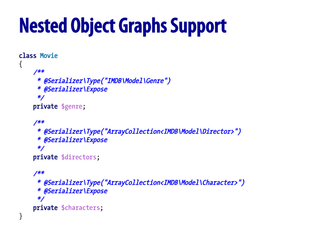 Nested Object Graphs Support class Movie { /** ...