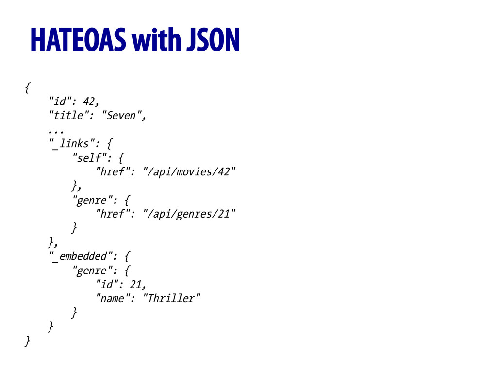 """HATEOAS with JSON { """"id"""": 42, """"title"""": """"Seven"""",..."""