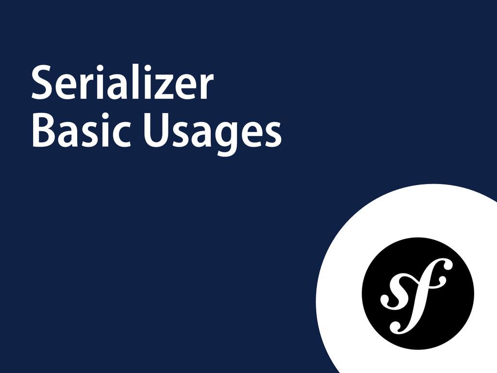 Serializer Basic Usages