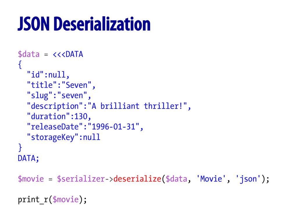 "$data = <<<DATA { ""id"":null, ""title"":""Seven"", ""..."
