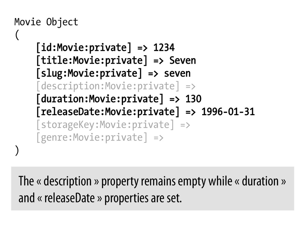 Movie Object ( [id:Movie:private] => 1234 [titl...