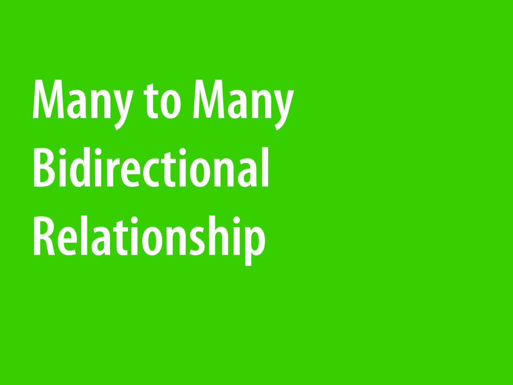 Many to Many Bidirectional Relationship