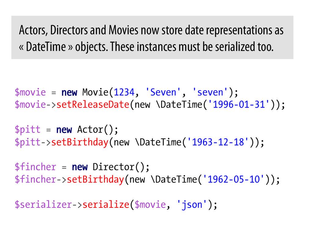 $movie = new Movie(1234, 'Seven', 'seven'); $mo...