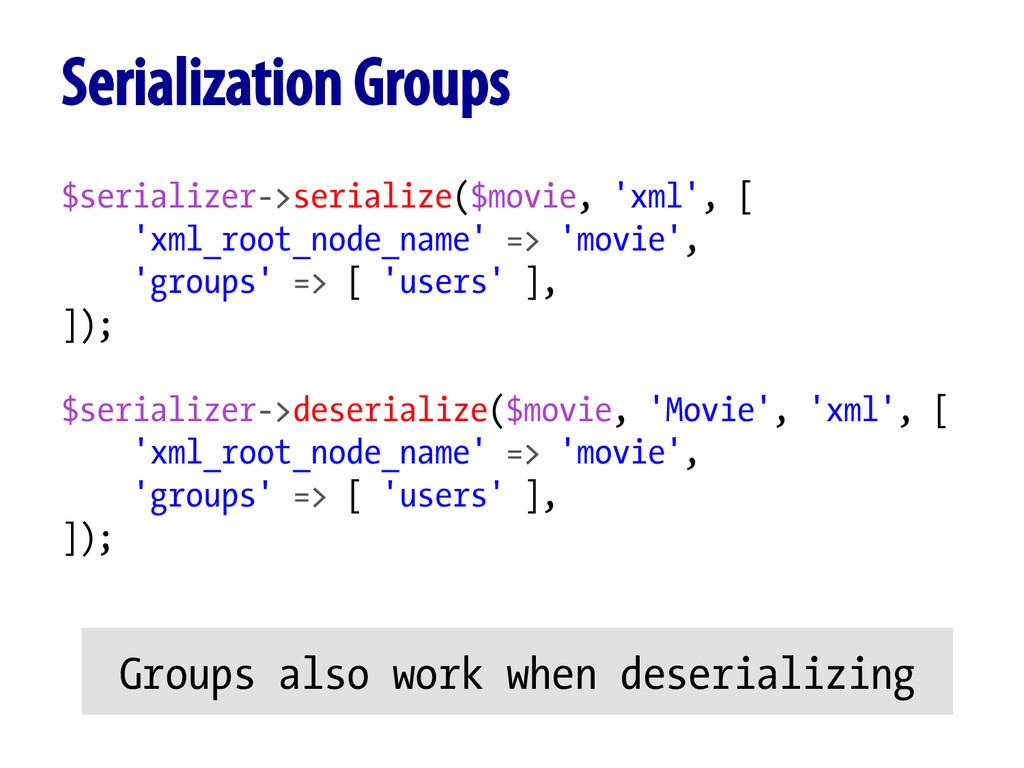 $serializer->serialize($movie, 'xml', [ 'xml_ro...