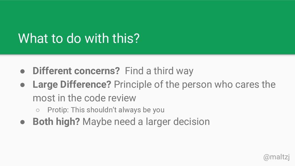 @maltzj ● Different concerns? Find a third way ...