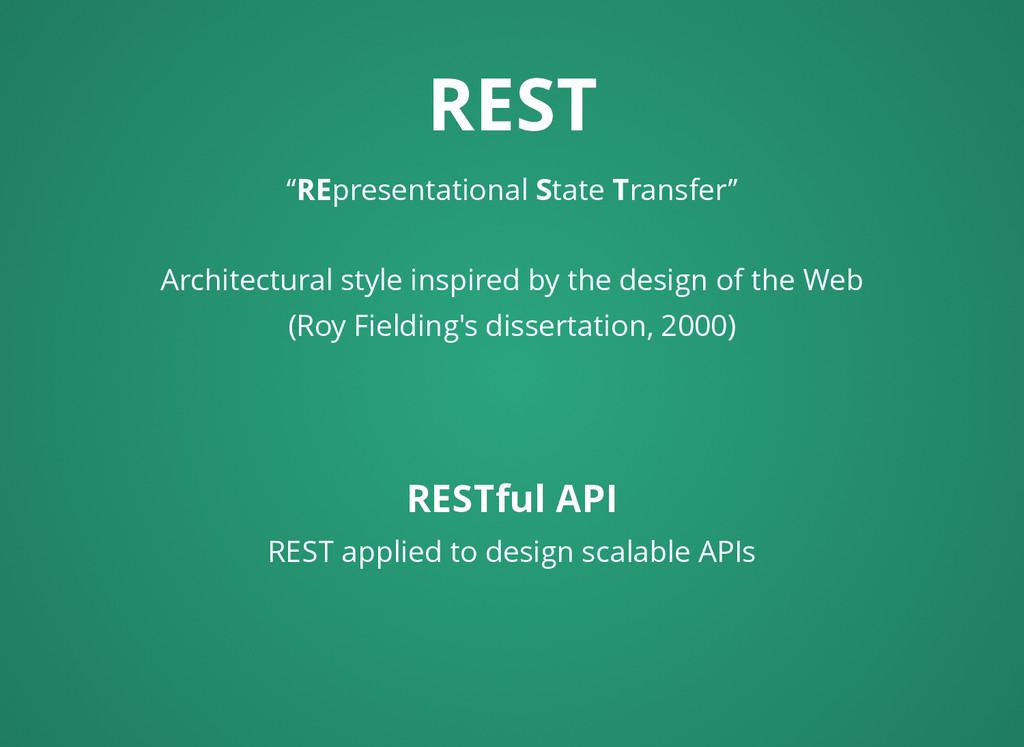 "REST REST ""REpresentational State Transfer"" Arc..."